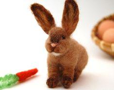 Needle Felt Animal. Needle Felted Bunny . Needle Felt Rabbit .Needle Felt Animals. Woodland Animal. Natural Fall Decor. Kids Toy. Waldorf