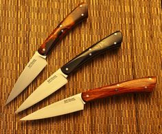 Guinea Hog Forge A trio of paring knives with 3 1/2 inch blades. Desert Ironwood at the top, black Micarta in the middle, and Cocobolo at the bottom. 3.5-Inch Paring Steel: 01 OAL: 8 1/8 inches Blade Length: 3 1/2 inches