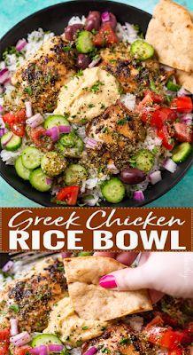 Greek Chicken Rice Bowl - need recipe Paleo Dinner, Healthy Dinner Recipes, Cooking Recipes, Healthy Rotisserie Chicken Recipes, Healthy Greek Recipes, Chicken Rice Recipes, Veggie Dinner, Healthy Dinners, Chicken Rice Bowls
