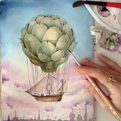 """Watercolor sketching. Artichoke air balloon || #limkina #limkina_art || Sonet, Sennelier, Winsor and Newton, Schmincke watercolors, Torchon paper,…"""