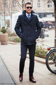 classics // #oxfords #peacoat #shades #menswear #winterstyle