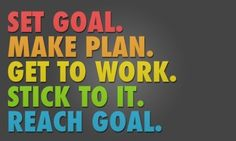 Set Goal. Make Plan. Get To Work. Stick To It. Reach Goal. ...five easy steps! :)