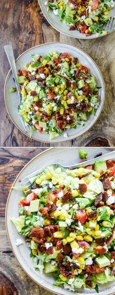 BLT Chopped Salad with Feta, Corn, and Avocado #BLT #salad #easymeals