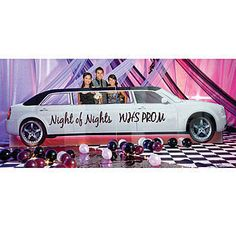 The Personalized Stretch Limo Standee has the look of a white stretch limo with black rag top. Best of all, the cardboard limousine standee can be personalized.
