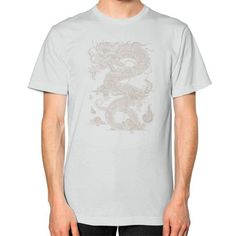 Vintage Ancient Chinese Dragon (On Dark) Unisex T-Shirt (on man)