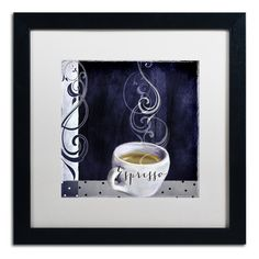 """Trademark Art 'Cafe Blue IV' by Color Bakery Framed Graphic Art Mat Color: White, Size: 16"""" H x 16"""" W x 0.5"""" D"""