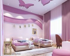 some of sweet girls room on Behance Sofe avec la cuisine Interior Ceiling Design, House Ceiling Design, Ceiling Design Living Room, Bedroom False Ceiling Design, Kids Bedroom Designs, Room Design Bedroom, Bedroom Furniture Design, Home Room Design, Baby Girl Room Decor