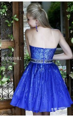 Royal Silver Sequined Short Dress by Sherri Hill 8520Outlet