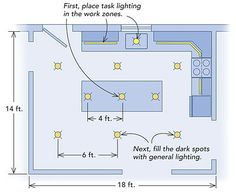 Tutorial shows you recessed lighting layout spacing placement modern kitchen lighting aloadofball Choice Image