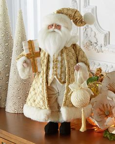 Shop Winter White & Gold Santa at Horchow, where you'll find new lower shipping on hundreds of home furnishings and gifts. Turquoise Christmas, Silver Christmas, Christmas Colors, Christmas Time, Christmas Crafts, Christmas Decorations, Red Gold, White Gold, Winter White