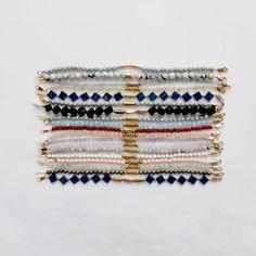 Gemstone bracelets with feldspar, lapis lazuli, onyx and marble