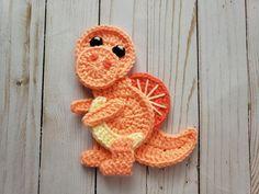 Jurassic Classic Applique Pack Crochet Pattern Only Crochet Dinosaur Pattern Free, Crochet Applique Patterns Free, Granny Square Crochet Pattern, Crochet Patterns Amigurumi, Crochet Appliques, Crochet Beard, Crochet Baby Hats, Cute Crochet, Crochet Crafts