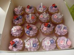 ladybird and flower cupcakes