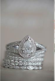 Pear diamond wedding ring set.