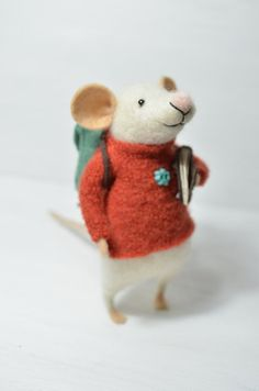 Little Traveler Mouse - unique - needle felted ornament animal, felting dreams made to order. $68.00, via Etsy.
