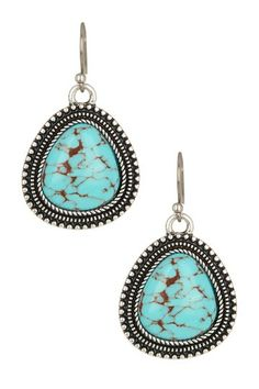 Turquoise Stone Drop Earrings by Lucky Brand on @HauteLook