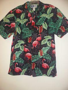 53ccef100d700 Vintage RJC Ltd Hawaiian Shirt Pink Flamingo Shirt by JunkMaster Mens Hawaiian  Shirts