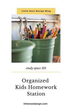 We have a dedicated homework station in our family room but it can get out of control fast. Click through to read about the systems I have in place to battle kid clutter! Hanging File Organizer, File Organiser, Kids Homework Station, Do Homework, Used Kitchen Cabinets, Big Blank Wall, School Supplies Organization, Built In Desk, Printer Supplies