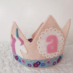 Unicorn Birthday Party - Felt Birthday Crown. $32.00, via Etsy.