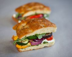 Grilled Vegetable Pesto Sandwiches