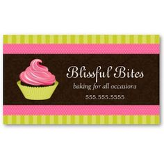 Business Card Showcase by Socialite Designs: Elegant Cupcake Bakery Business Cards