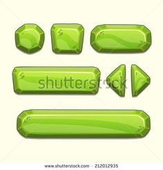 Set of cartoon stone buttons in green colors, vector ui elements - stock vector