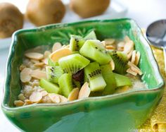 This Kiwi Cherry Almond Oatmeal is a perfect warm breakfast in winter and refreshing served cool in the summer #PerfectPortions