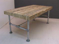 Tafel van balken op zijn kant (5,5x10-14cm) met steigerbuis (22131519) 100x90 390,-
