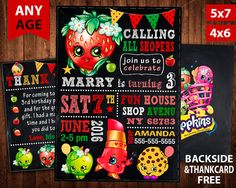 Shopkins Invitation Shopkins Birthday Party by VitaPrintable