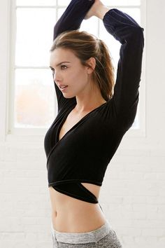 Black BlueLife Fit Luscious Ballet V Neck Wrap Tie Back Top Activewear @ Urban Outfitters $95