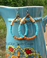 Hoop wired earrings. Indonesian glass, coconut and turquoise stone earrings. -  - McKee Jewelry Designs - 1
