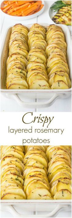Crispy layered rosemary potatoes are just that. Crispy layered rosemary potatoes are just that. Thinly sliced potatoes layered with butter and rosemary then baked to crispy perfection. Vegetable Dishes, Vegetable Recipes, Vegetarian Recipes, Cooking Recipes, Healthy Recipes, Rosemary Potatoes, Sliced Potatoes, Potato Dishes, Food Dishes