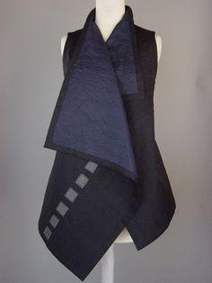 Long Kimono Jacket with Abstract Squares