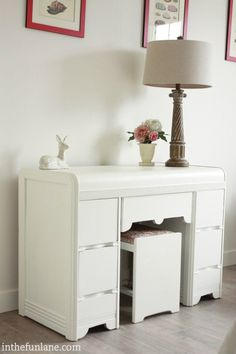 in the fun lane: WhiteBerry Reinvented Antique White Desk, White Desks, White Paints, Painted Furniture, Repurposed, Patrice, Diy Crafts, Dressers, Table