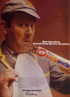 Sir Terry Scott advertising Curly Wurly in the He used to dress up as a schoolboy for the tv ads as well. The advert depicts how the recipe was changed so that the middle was softer, making the milk chocolate less likely to drop off. 1970s Childhood, My Childhood Memories, Retro Sweets, Vintage Sweets, Curly Wurly, Tv Adverts, Kids Tv, I Remember When, Old Ads