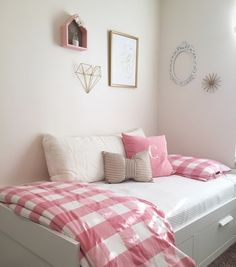 Ikea. Day Bed. Bed with storage and Gingham bedding. Simple girls room. Pink and Gold Decor. Ikea Brimnes Daybed