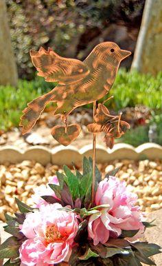 Nature Bird Copper Garden Art Mini Pot Plant Stake, Metal Garden Art, Bird Sculpture, Outdoor Sculpture, Pet Memorial, Garden Stake Gift,