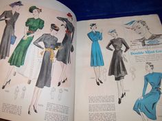 Prevue Pictorial Fashions, November 1938 featuring Pictorial 9465, 9458 and 9485 on the left page, 9447, 9472 and 9450 on the right page