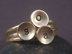 Hand Stamped Initial Ring in Gold Filled. $28.95, via Etsy.