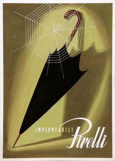 Pirelli Impermeabili - Bozzetto per pubblicità di impermeabili Jeanne Grignani 1954