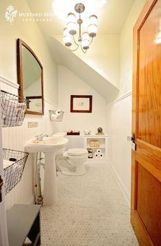 bathrooms - Benjamin Moore - Gray Owl - vintage wire baskets marble hexagon tiles glossy white pedestal sink chair rail beadboard backsplash walls white radiator cover