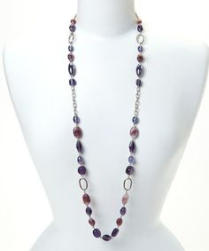 Look what I found on #zulily! Silver & Purple Bead Link Necklace #zulilyfinds