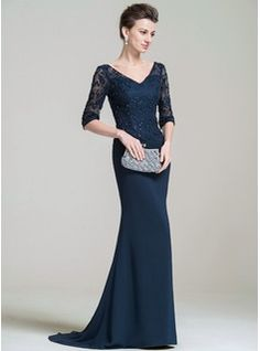 Trumpet/Mermaid V-neck Sweep Train Beading Appliques Lace Sequins Zipper Up Sleeves 1/2 Sleeves No Dark Navy Spring Summer Fall General Plus Chiffon Lace Evening Dress