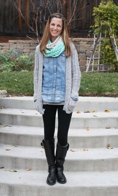 what i wore wednesday - chambray top, with leggings and an infinity scarf
