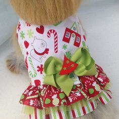 """Adorable CHRISTMAS Double Ruffle Girly Dog Harness Dress Vest  Ready to Ship Now Size SMALL Girth 14"""""""