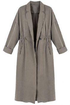 #Fashion #Drawstring #Waist #Notch #Lapel #Trench #Coat #Gray