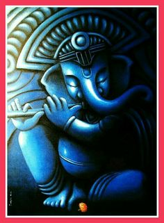 painting by the Indian artist Sudipta Kundu - Paris Art Web Ganesha Drawing, Lord Ganesha Paintings, Ganesha Art, Krishna Painting, Shri Ganesh, Durga, Shiva Art, Krishna Art, Hindu Art
