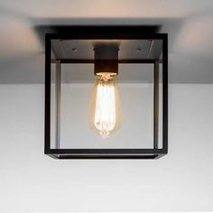 Astro Lighting Box Single Light Exterior Porch Ceiling Light In Black Finish With Clear Glass Panels Porch Ceiling Lights, Outdoor Porch Lights, Porch Lanterns, Wall Lights, Ceiling Lamp, Front Door Lighting, Porch Lighting, Exterior Lighting, Home Lighting