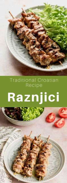 Ražnjići is a popular Balkan dish made from pork that is grilled on a barbecue. It is similar to Greek souvlaki and Turkish şaşlık. Barbecue Salad Recipes, Summer Grilling Recipes, Croatian Recipes, Hungarian Recipes, Pork Skewers, Shish Kebab, Around The World Food, Cooking Recipes, Bread Recipes