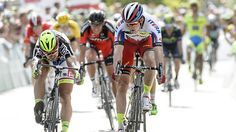 Katusha's Alexander Kristoff timed his run to perfection to pip Tinkoff-Saxo's Peter Sagan on the line in the seventh stage of the Tour de Suisse.